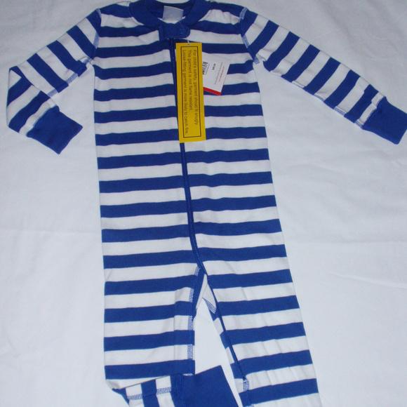 NEW NWT Hanna Andersson Boys Organic Blue Stripe Sleeper Pajamas 80 18 24 M